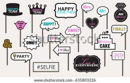 Photo booth Props Weddings Party, Featuring cute Funny Doodle Speech Bubble Valentine's day Black and Gold Vector illustration Collection.