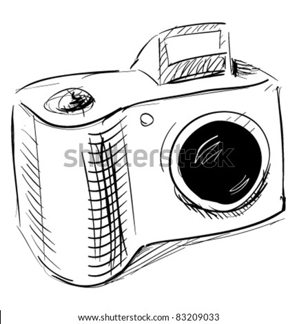 Photo camera cartoon sketch vector illustration - stock vector