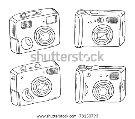 photo camera doodle set - stock vector