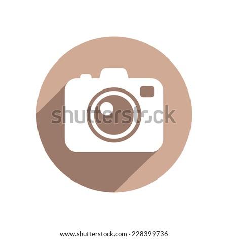 Photo camera flat icon - stock vector
