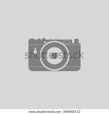 photo camera - Grey flat icon on gray background - stock vector