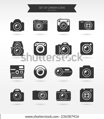 Photo camera icon set. Vector illustration - stock vector