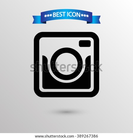 Photo camera  icon vector eps 10 icon, Photo camera vector icon for web i mobile,  Photo camera vector icon on gray background - stock vector