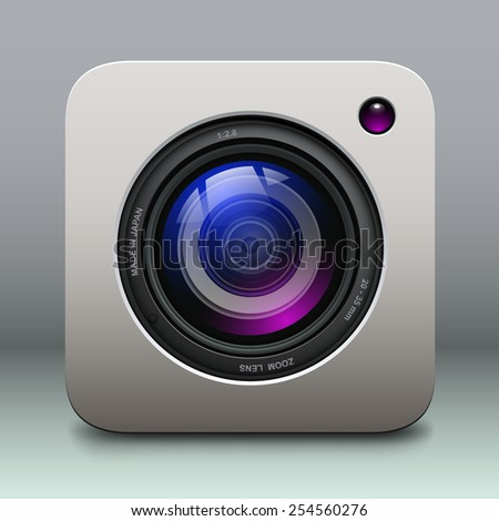 Photo camera icon - vintage, retro vector design. - stock vector