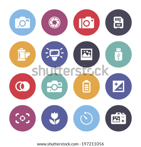 Photo camera icons, vector.