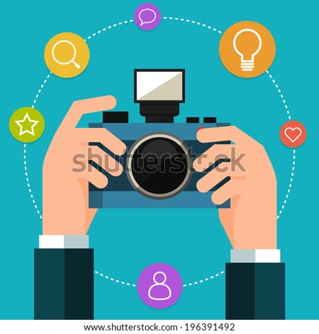 Photo camera in hand. Flat style - stock vector