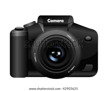 Photo camera isolated on white - stock vector
