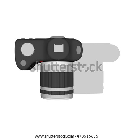 Photo camera. Isolated on white background. 3d Vector illustration.Top view.