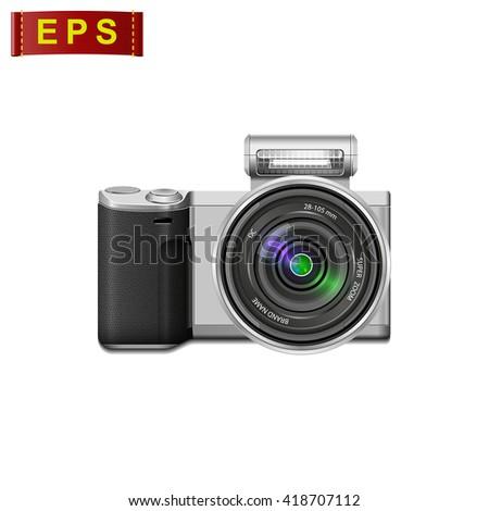 photo camera isolated, photo camera icon, vector digital camera - stock vector
