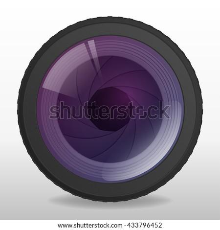 Photo camera lense. Realistic lens with shutter apperture. Vector illustration - stock vector