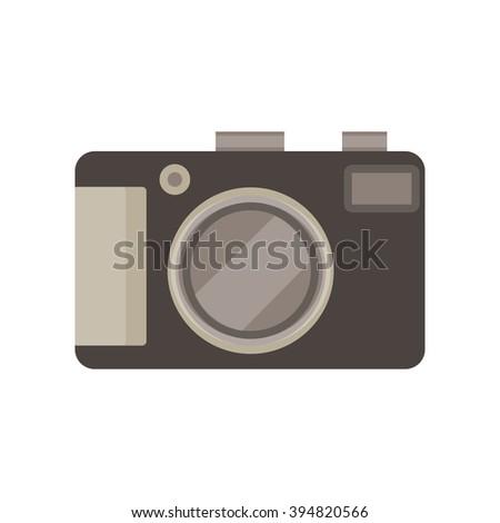 photo camera monochrome flat icon in gray color theme illustration object - stock vector