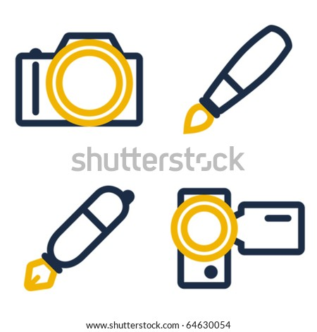 Photo camera, paintbrush, pen and video camera icons. - stock vector