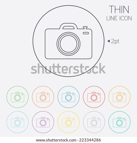 Photo camera sign icon. Digital photo camera symbol. Thin line circle web icons with outline. Vector - stock vector