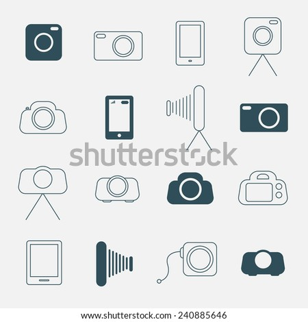 Photo Camera Simple Vector Icons Set - stock vector