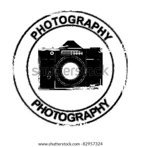 photo camera stamp - stock vector