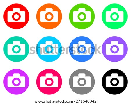 photo camera vector icon set - stock vector