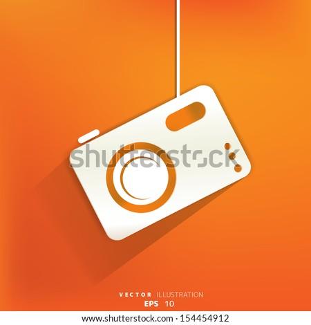 Photo camera web icon,flat design - stock vector