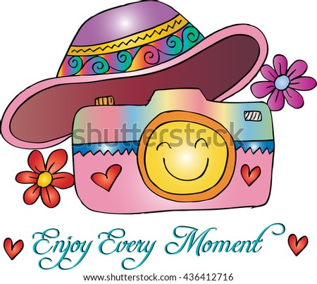 Photo camera with motivational quotes, enjoy every moment. Hand drawing illustration. - stock vector