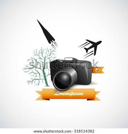 photo camera with vector elements - stock vector