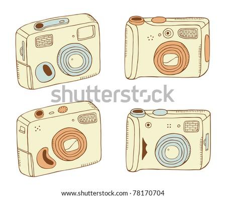 photo cameras colorful set - stock vector