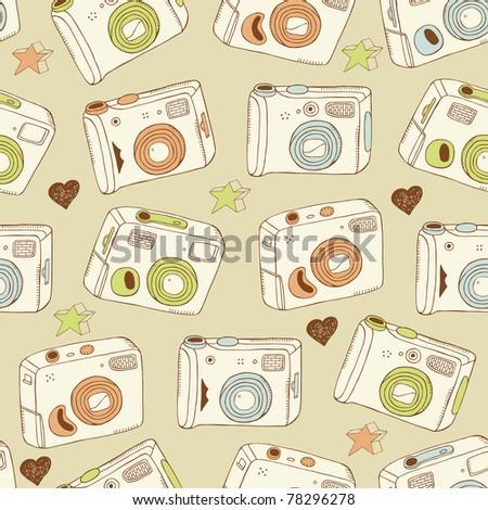 photo cameras seamless pattern - stock vector