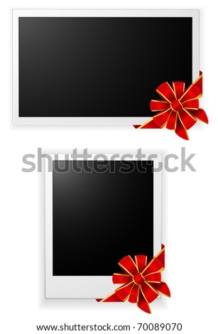 photo card with ribbon and bow - stock vector