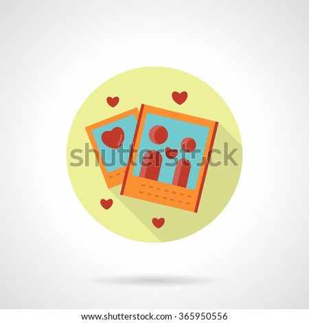 Photo cards with red heart and red couple silhouette. Valentines Day party, romantic event memory. Yellow round flat vector icon with long shadow. Element for web design, business, mobile app. - stock vector