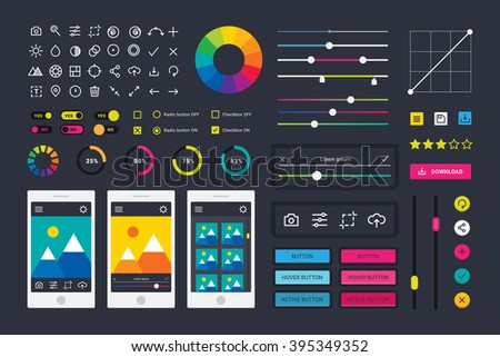 Photo editor app media icons, UI computer elements and photo editor app icons application, UI elements business technology. Photographic photo editor app icons UI elements frames camera vector.  - stock vector