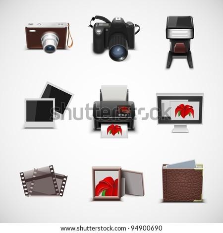 photo equipment vector icon set - stock vector