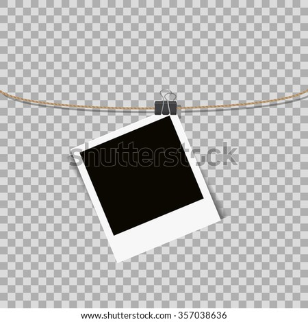 Photo frame hanging on the rope on transparent background - vector illustration