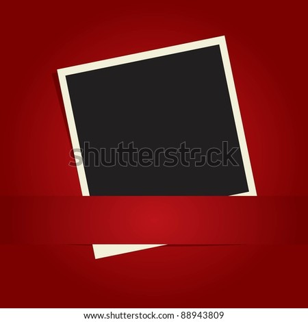 Photo frame on the red paper background - stock vector
