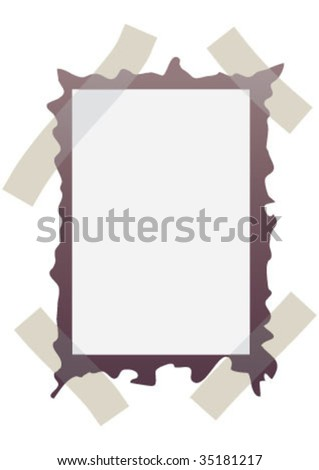 Photo frame on the wall sticked with tape - stock vector