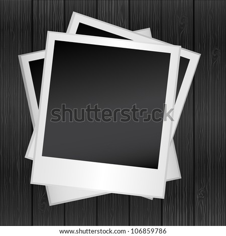Photo frame on the wood tree background, vector - stock vector