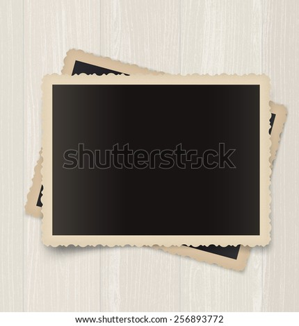 Photo frame on wood background. Vector illustration. Realistic. - stock vector