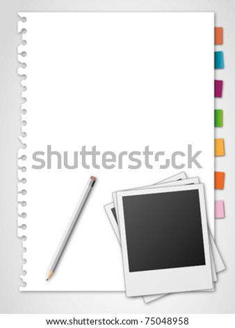 Photo frame pencil and torn paper on grey background - stock vector