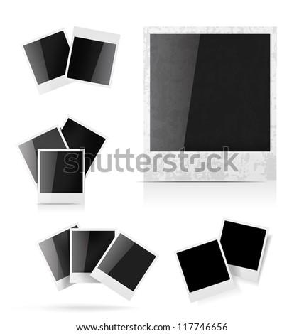 Photo frame set on white background - stock vector