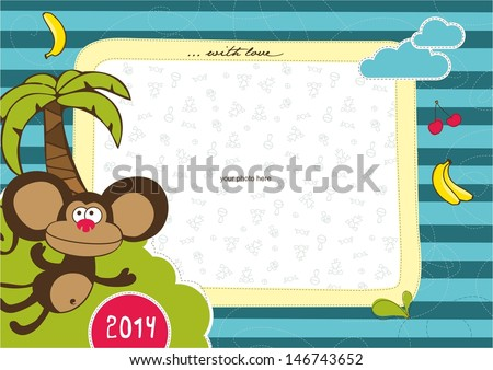 Photo frame with animals. Monkey. - stock vector
