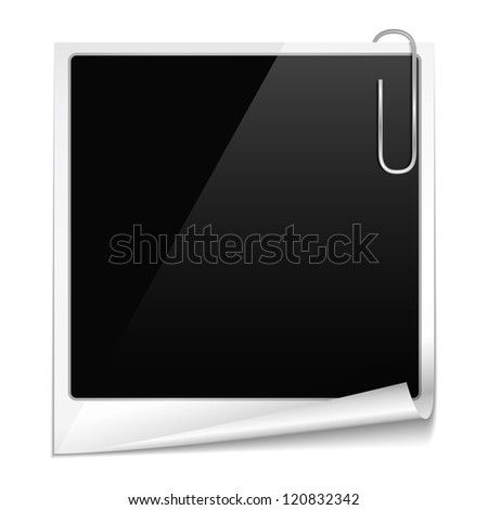 Photo frame with curl and paper clip, vector eps10 illustration - stock vector