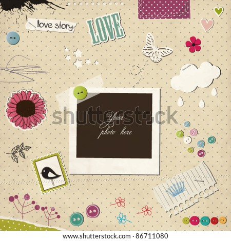 Photo frame with elements - stock vector