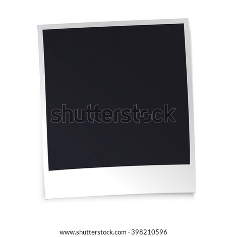 Photo frame with shadow on white background. Design template.  - stock vector