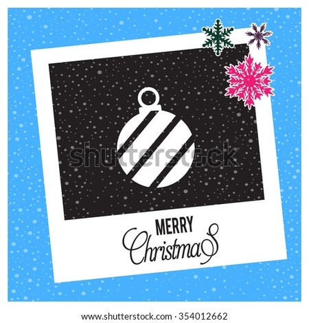 photo frame with Snowflake border and creative typography in footer on glowing Vector background, Vintage card with Christmas balls. vector illustration, Christmas Ball Ornaments card Design  - stock vector