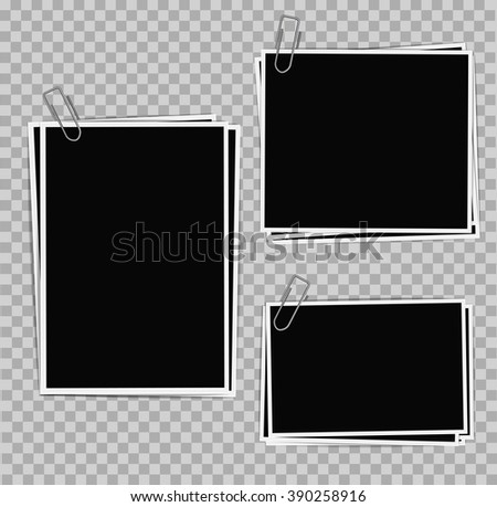 Photo frames composition with clips on transparent background. Vector design template - stock vector