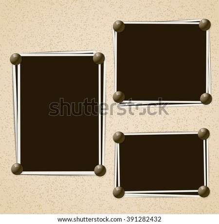 Photo frames composition with pins on retro background. Vector design template - stock vector