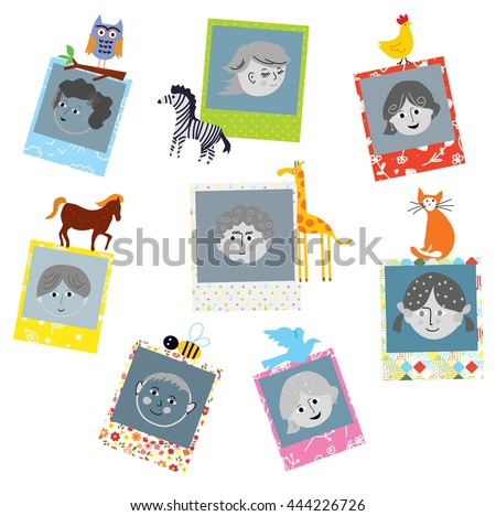 Photo frames designs for kids with funny animals. Vector graphic illustration