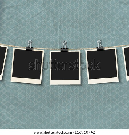 Photo Frames on rope. Vector illustration - stock vector
