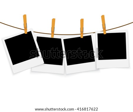 Photo frames on rope with clothespins vector background - stock vector