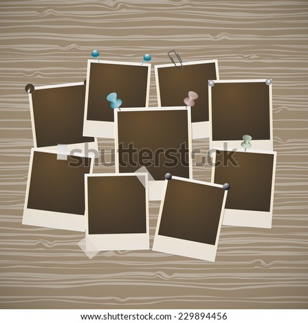 photo frames on wooden retro background - stock vector
