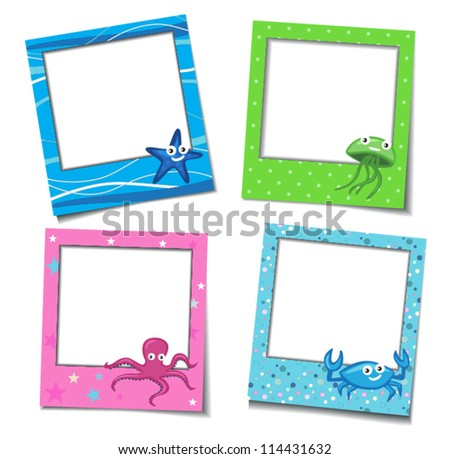 Photo Frames With Cartoons - stock vector