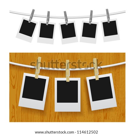 Photo frames with pins on rope over old aged wood background. Vector illustration