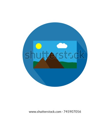Photo gallery round icon long shadow vector illustration